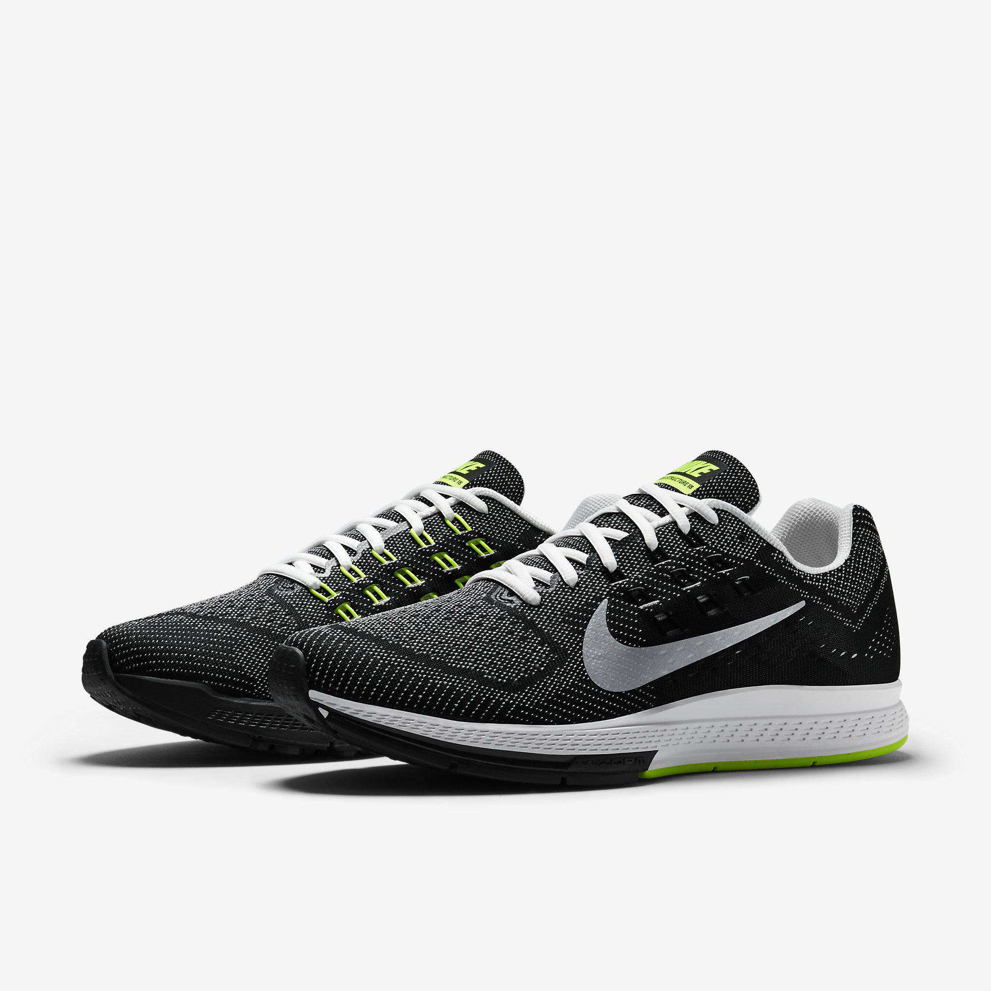 nike mens air zoom structure 18 running shoes white. Black Bedroom Furniture Sets. Home Design Ideas