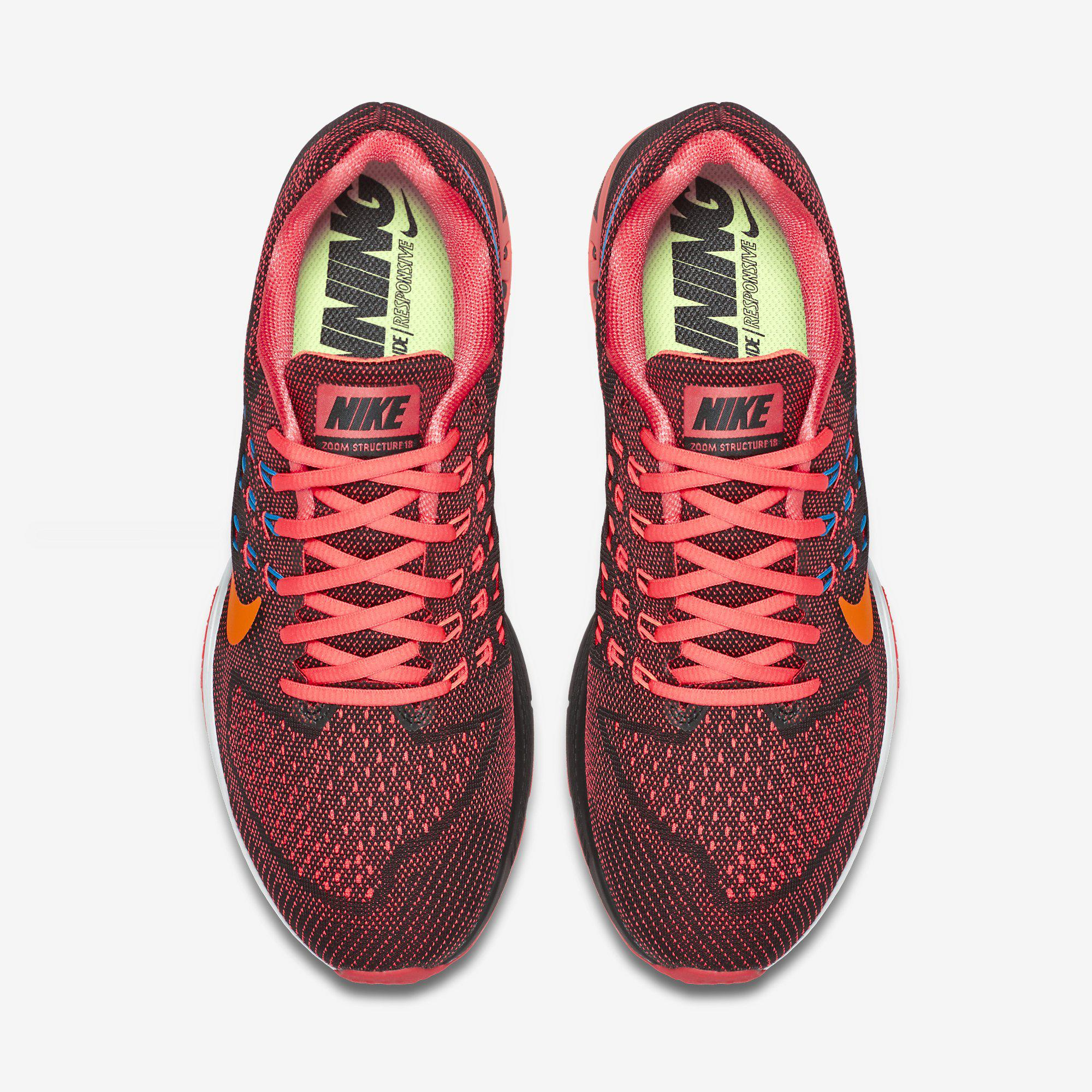 huge selection of 0eee8 f1a50 Nike Mens Air Zoom Structure 18 Running Shoes - Bright Crimson Black
