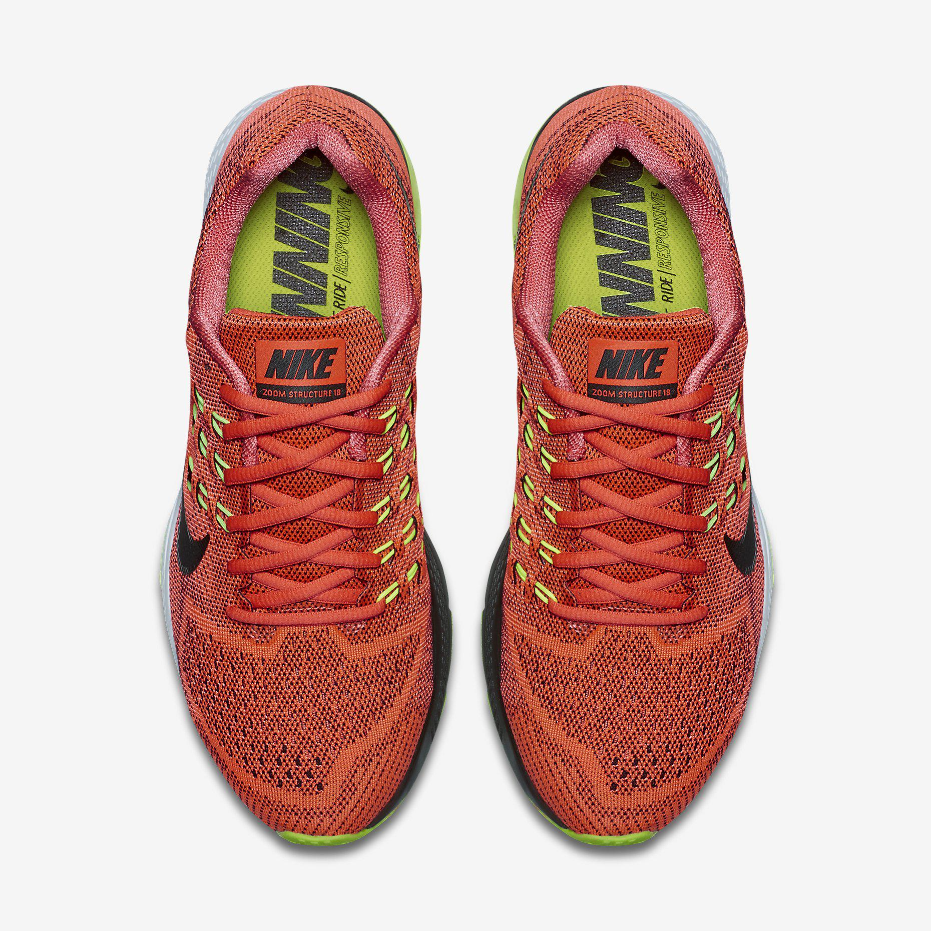 best website c7dc1 59a0f Nike Mens Air Zoom Structure 18 Running Shoes - Bright Crimson/Black