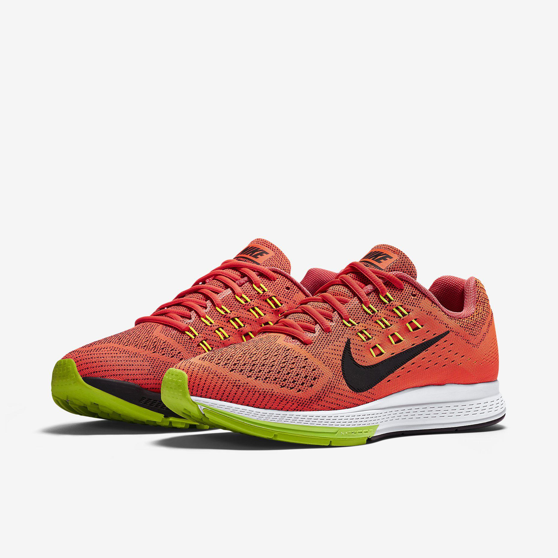 huge selection of 85298 c34f5 Nike Mens Air Zoom Structure 18 Running Shoes - Bright Crimson Black