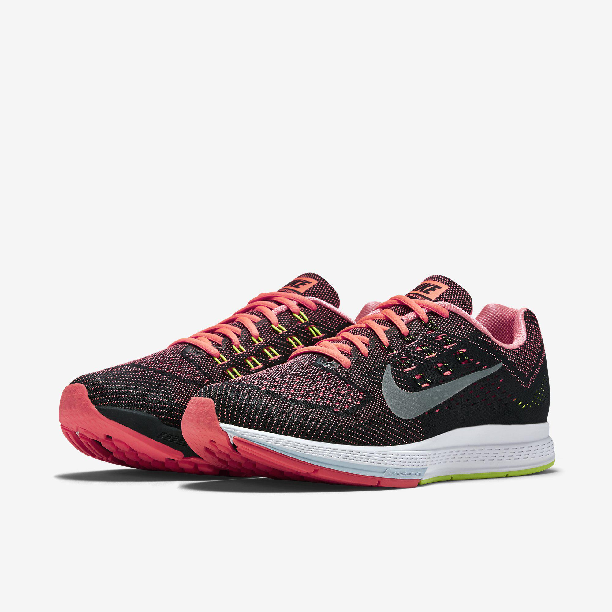 new style 5dfd5 25d48 Nike Mens Air Zoom Structure 18 Running Shoes - Hot Lava Black