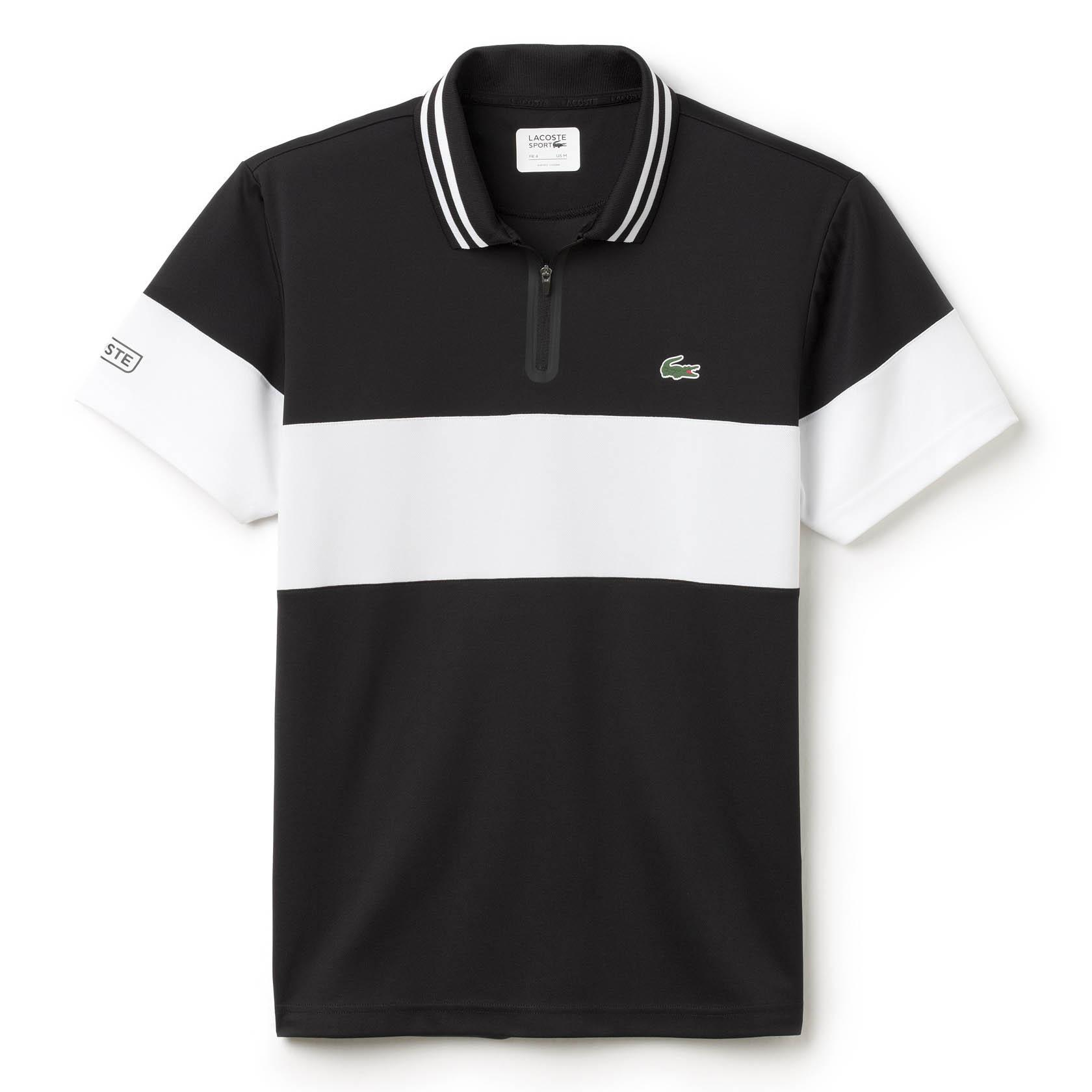 black and white lacoste polo