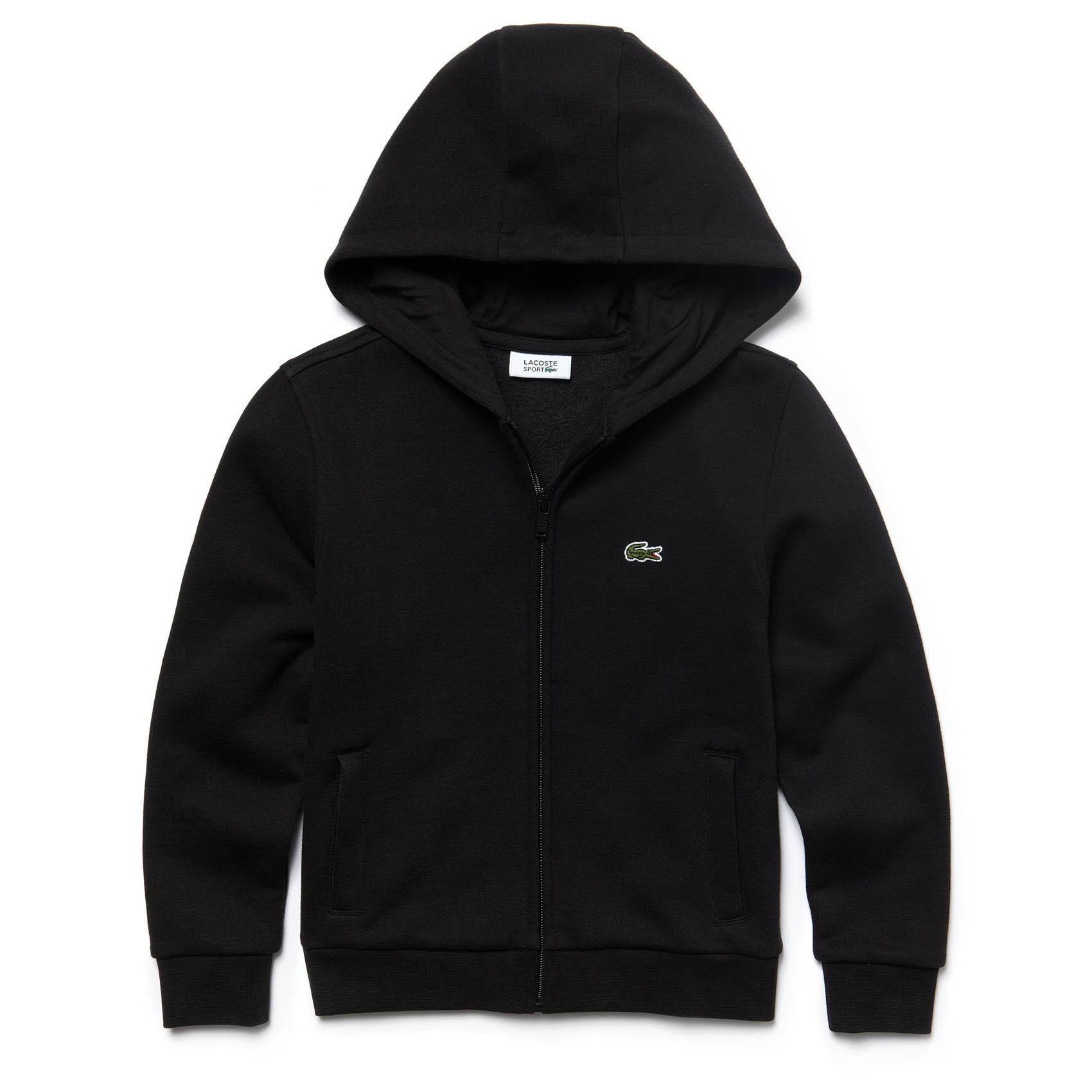 2e9b2145972c Lacoste Sport Boys Hooded Sweatshirt - Black - Tennisnuts.com