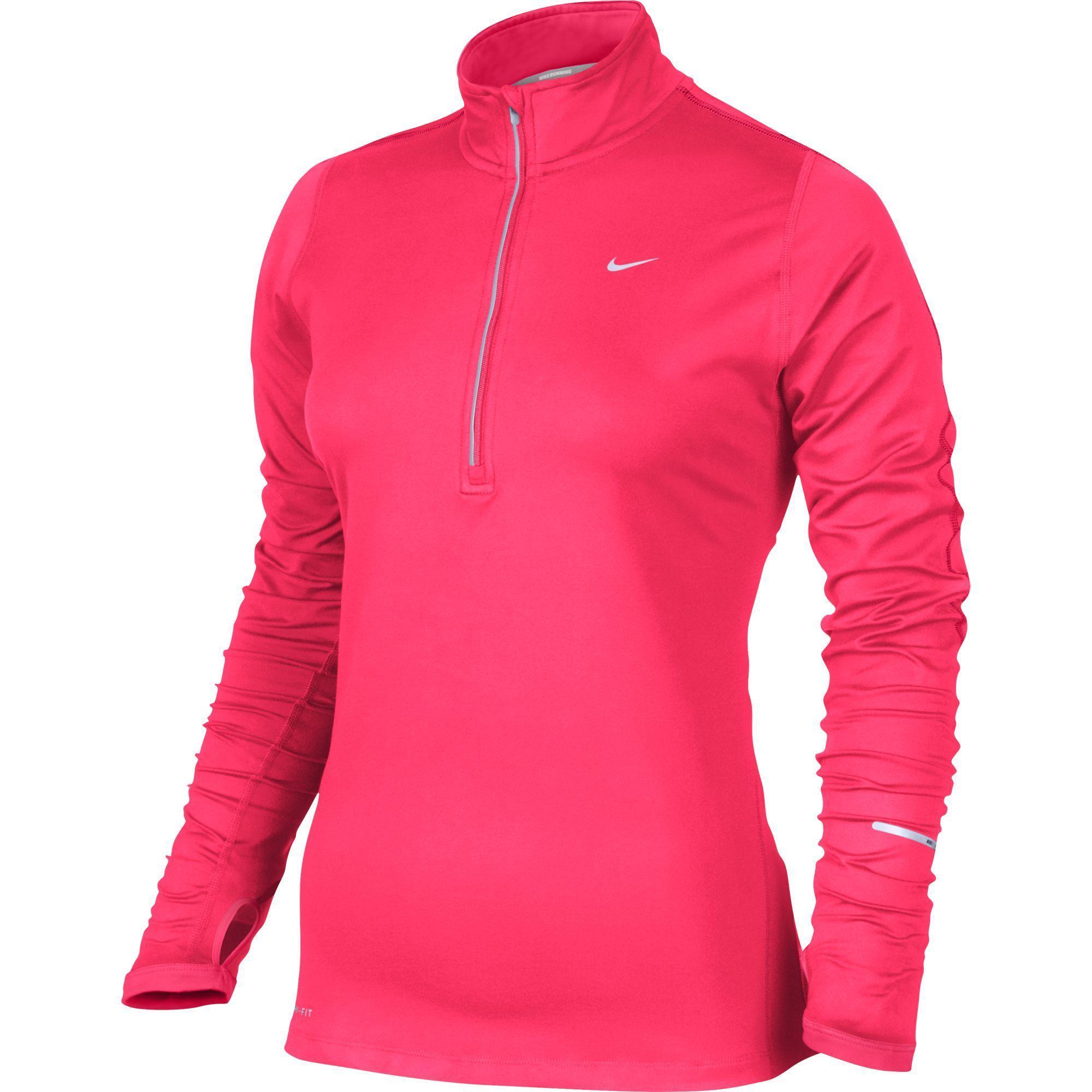 nike womens element 1 2 zip l s running shirt hyper