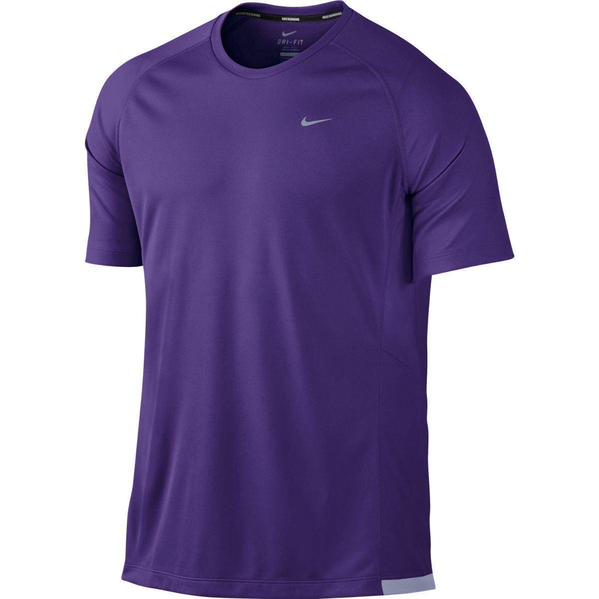 Nike Mens Miler Uv Short Sleeve Running Shirt Court