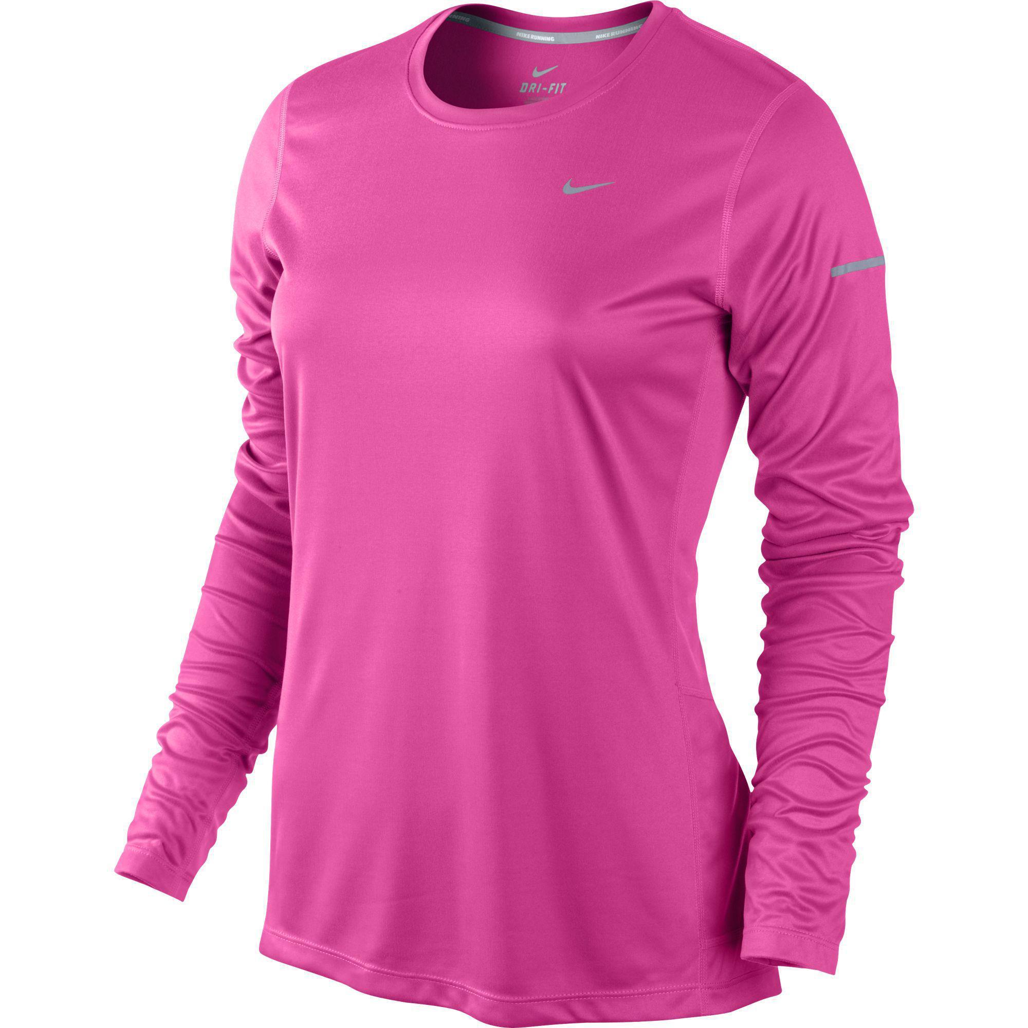 Nike Womens Miler Long Sleeve Running Top - Pink Pow Silver - Tennisnuts.com ff7fe37e975