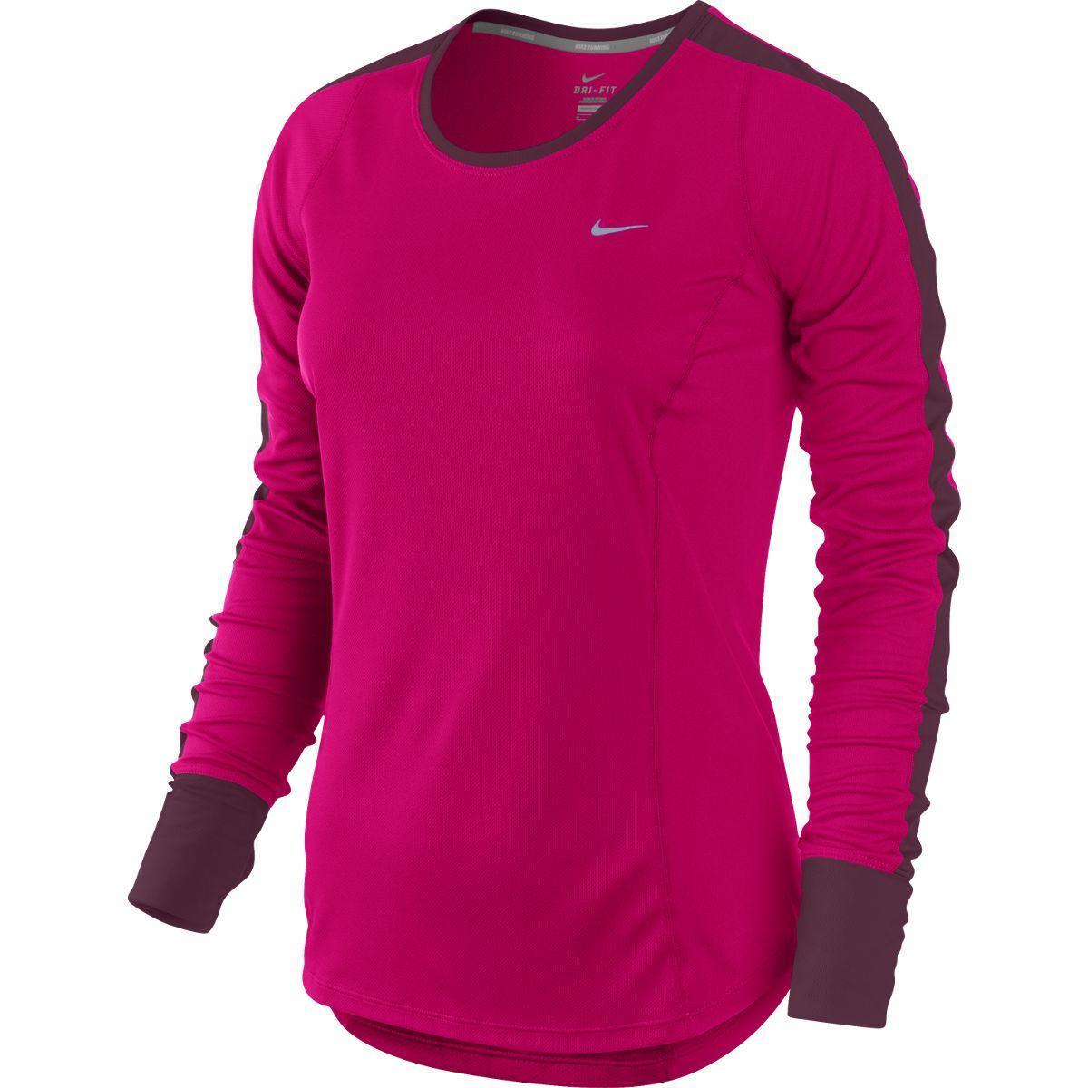 Nike womens racer long sleeve running shirt fuchsia for Long sleeve running shirt womens