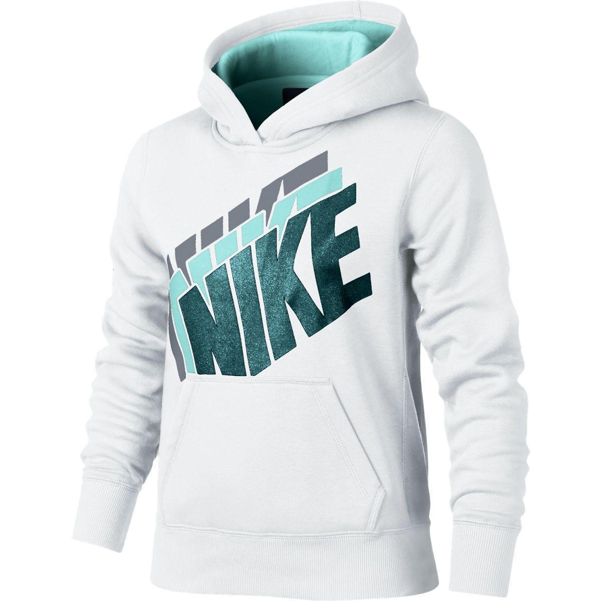 Nike Girls YA76 Brushed Fleece Hoodie - White/Teal Tint ...