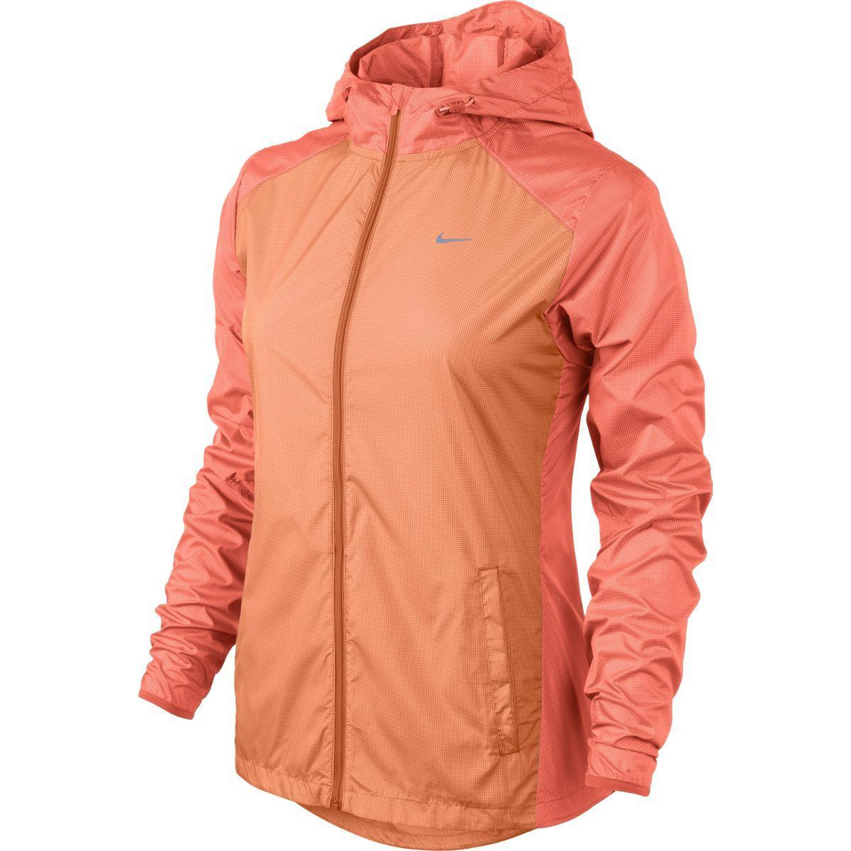 Nike Womens Racer Woven Running Jacket OrangeReflective Silver