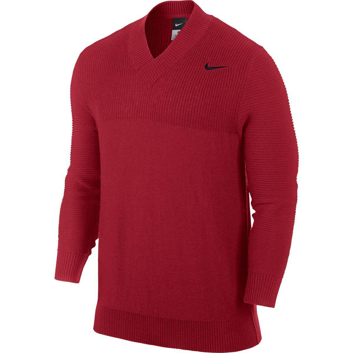 685594be1 Nike Mens V-Neck Sweater - Red/Black - Tennisnuts.com