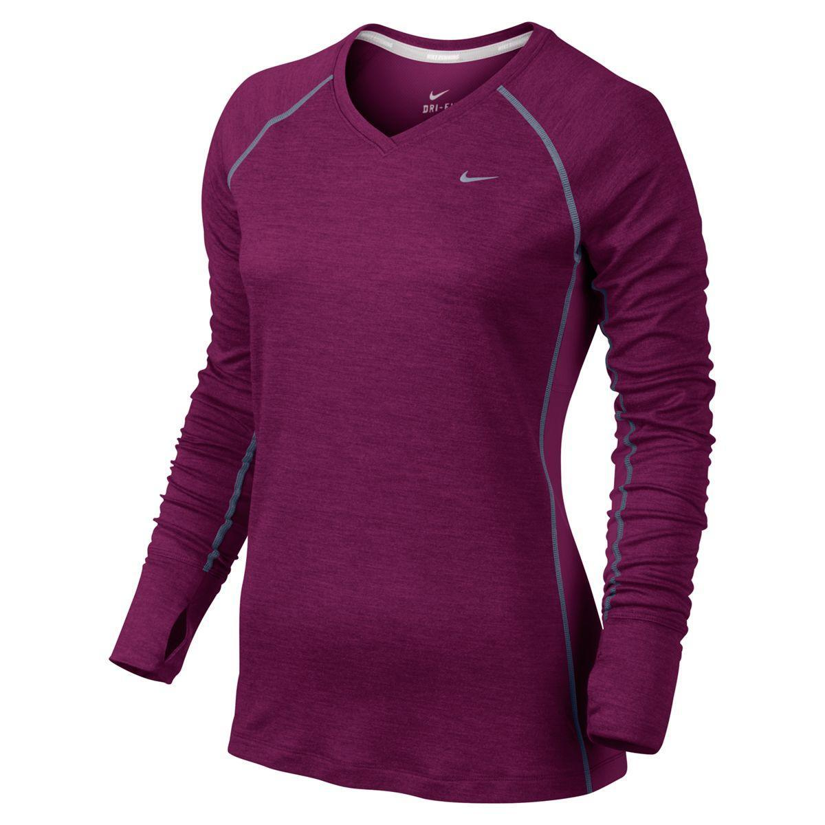 17d7bd0b918d Nike Dri-FIT Wool Womens V-Neck Top - Raspberry Red - Tennisnuts.com