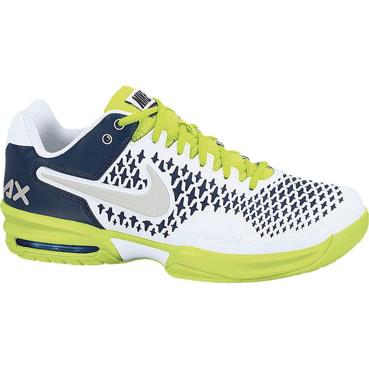 nike mens air max cage tennis shoes white lime navy