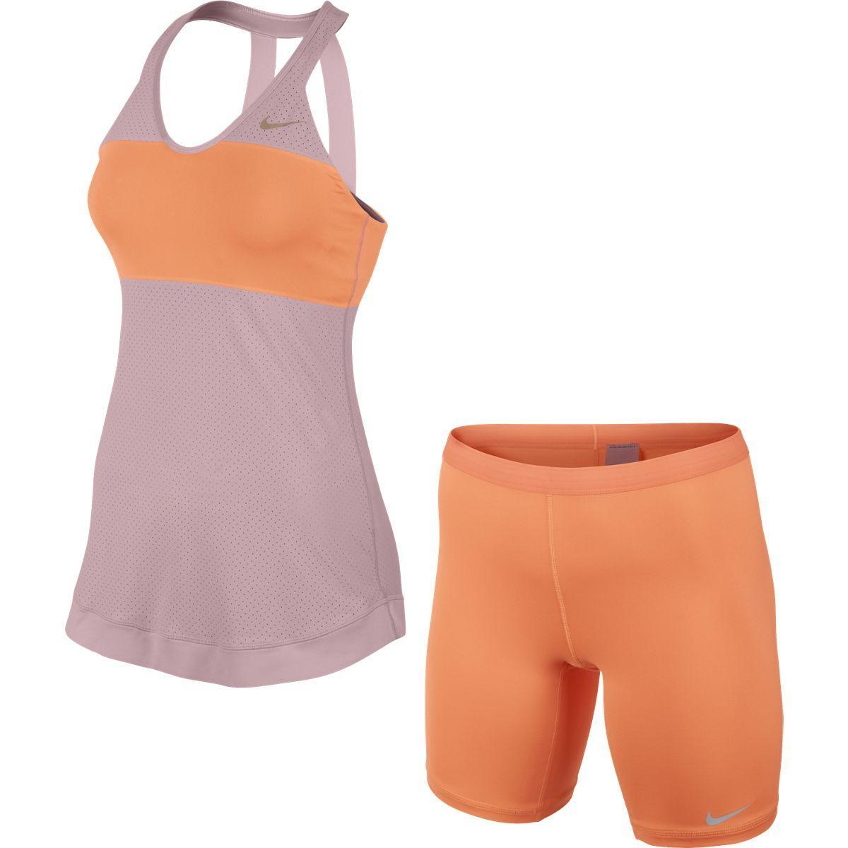 Atomic Pink Premier Maria Tennis Dress Nike Womens Premier Maria French Dress - Pink Glaze/Atomic Orange ...