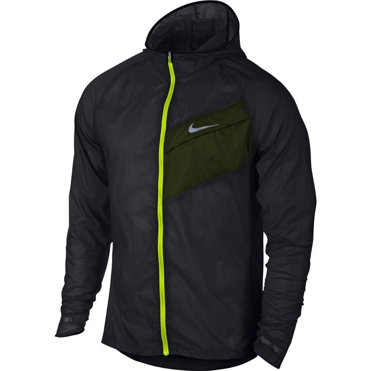 a978740fb9707 Nike Mens Impossibly Light Running Jacket - Black/Volt - Tennisnuts.com