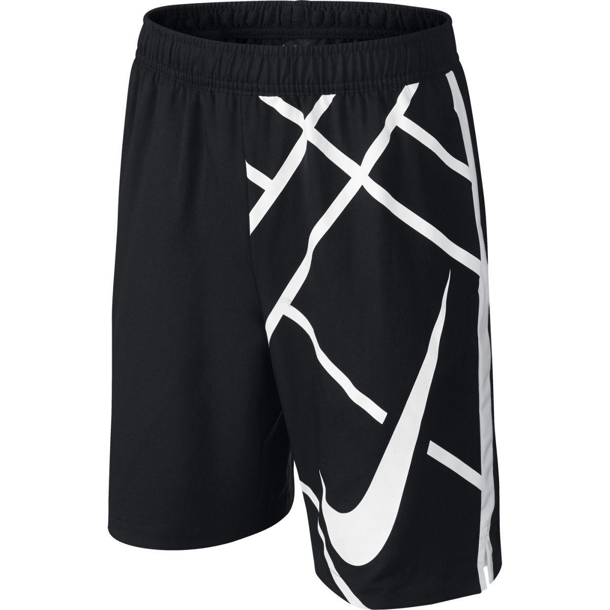 Nike Boys 8 Inch Court GFX Shorts - Black/White ...