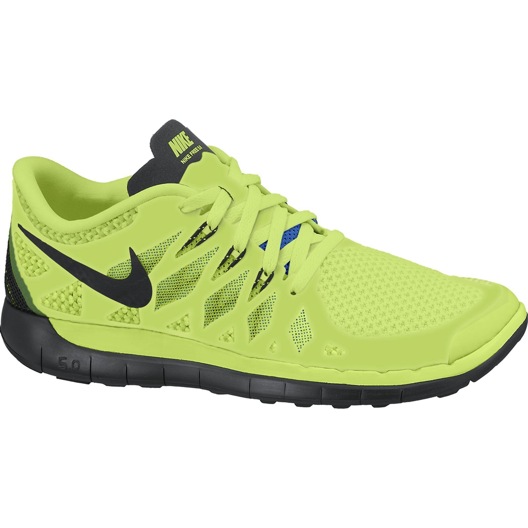 Nike Boys Free 5.0+ Running Shoes - Volt/Black/Electric ...
