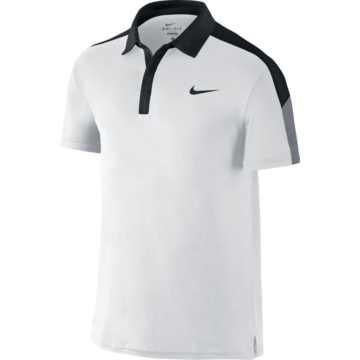 40c97d5e2 Nike Mens Team Court Polo - White/Black - Tennisnuts.com