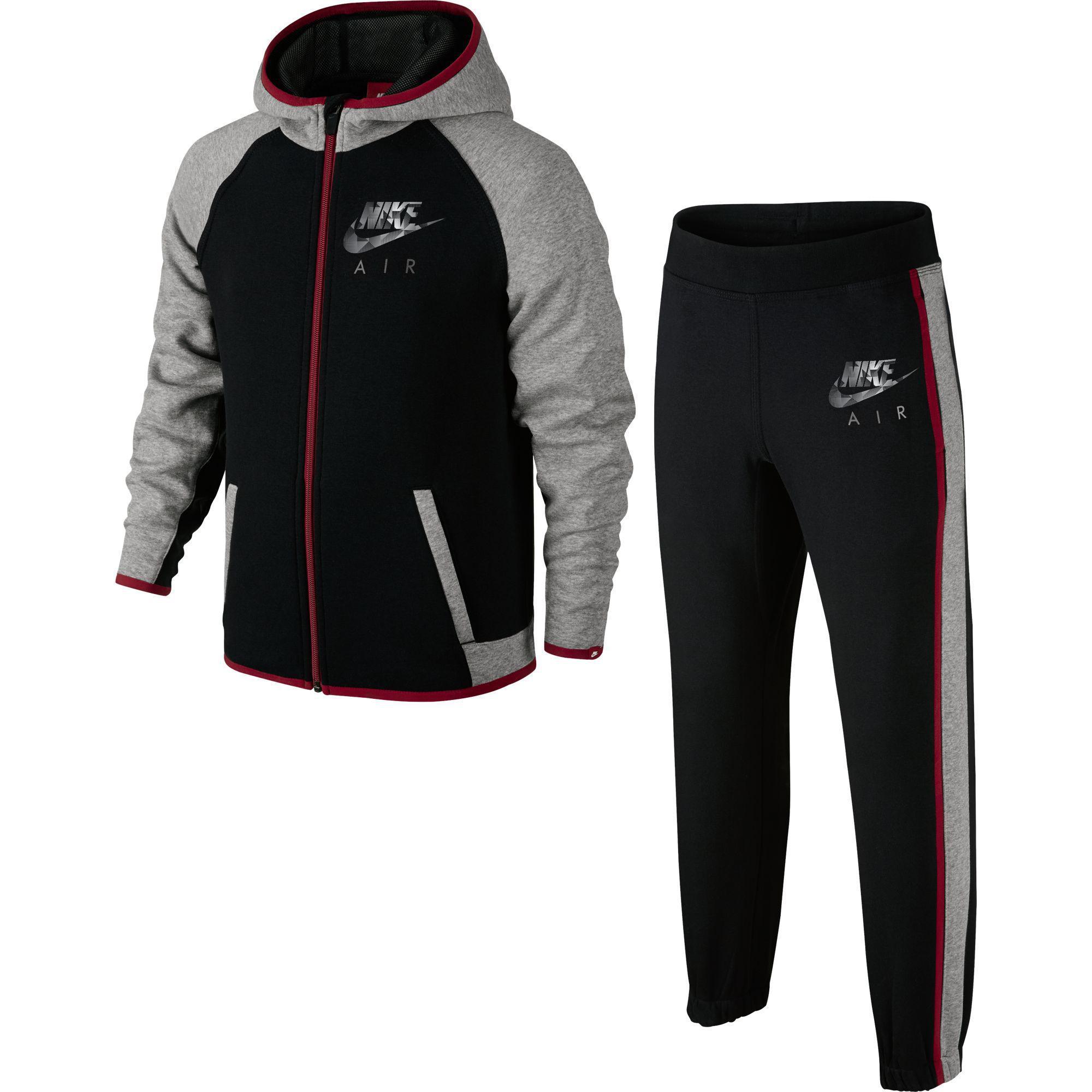 025965a8 Nike Boys Brushed Fleece Tracksuit - Black/Grey - Tennisnuts.com