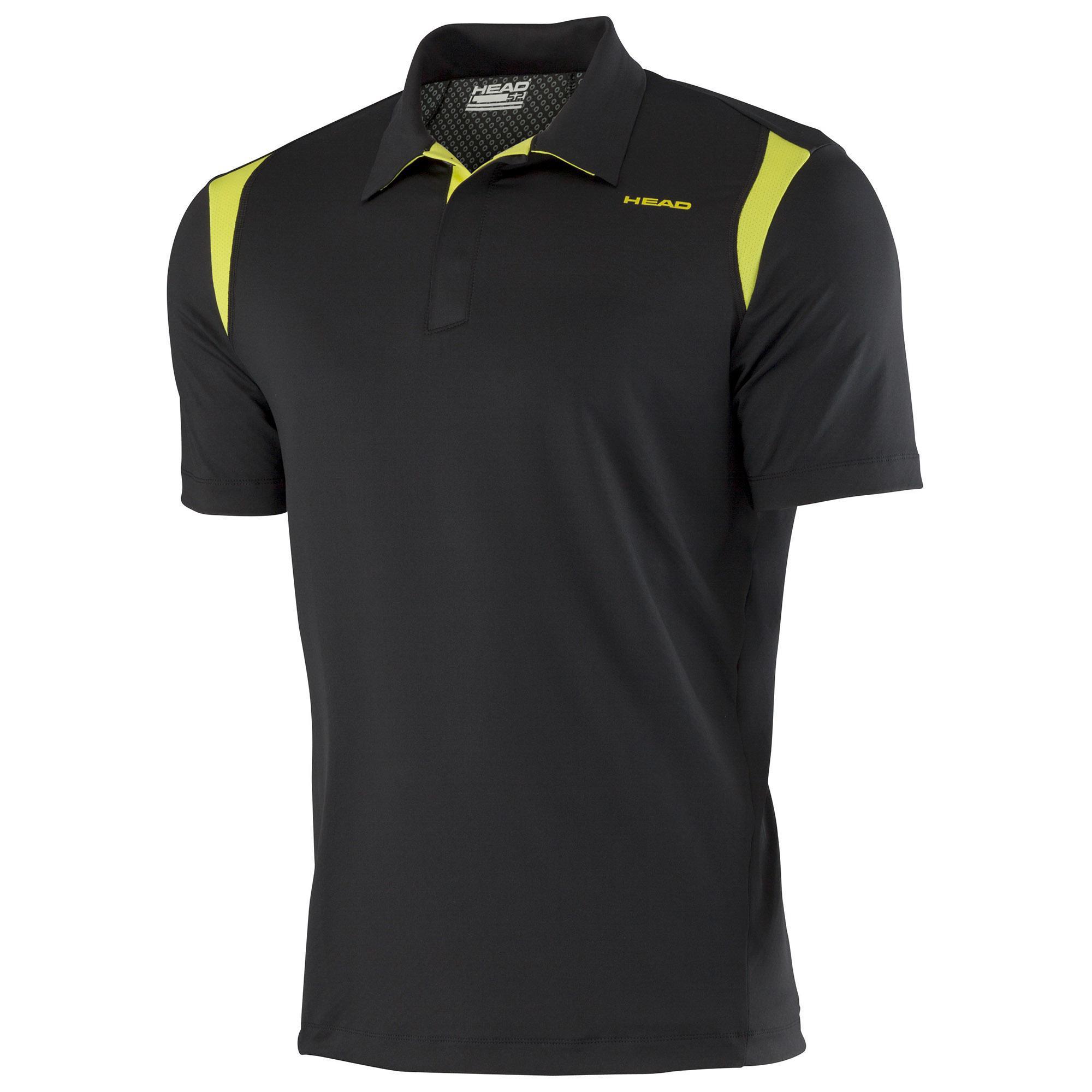 Head mens performance cool polo shirt black lime for Cool mens polo shirts