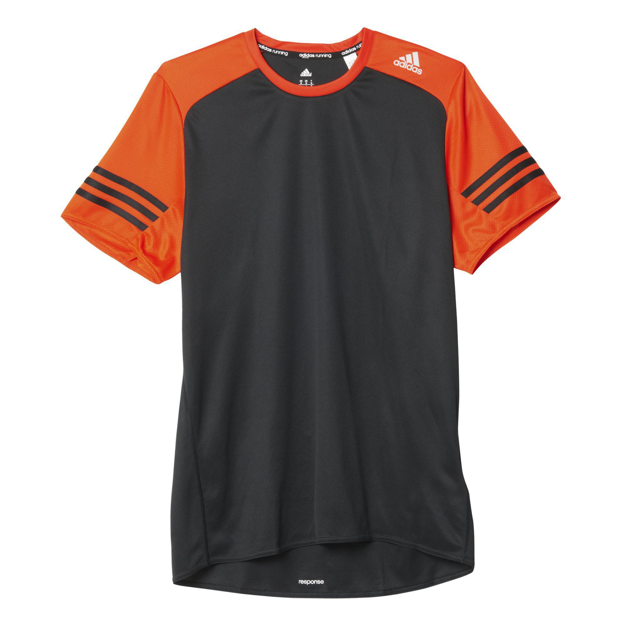 03213b9918e18 Adidas Mens Response Short Sleeve Tee - Black/Bold Orange - Tennisnuts.com