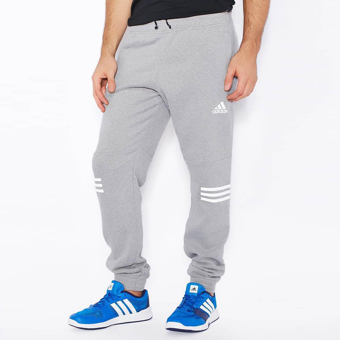 Adidas Mens Lineage 3 Stripes Sweatpants Core Heather Grey