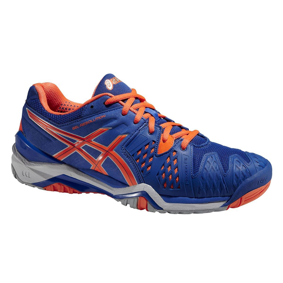 Asics Mens GEL Resolution 6 Tennis Shoes - Blue Flash Orange Silver ... 171e0826fb4c2
