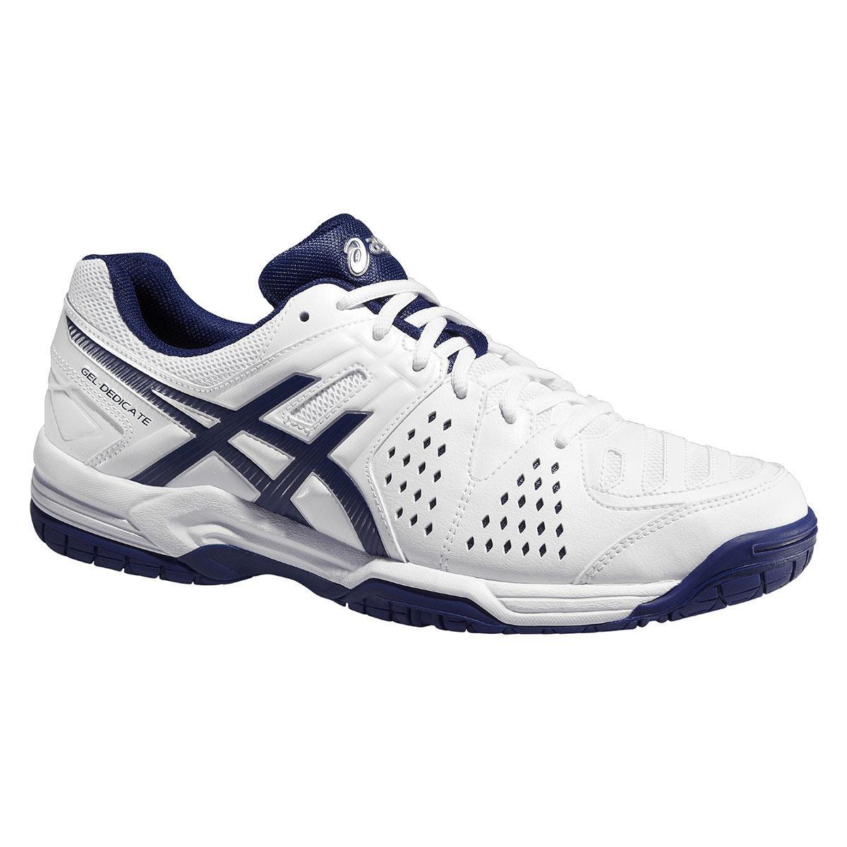 huge selection of 7b370 d5740 Asics Mens GEL-Dedicate 4 Tennis Shoes - White Navy - Tennisnuts.com