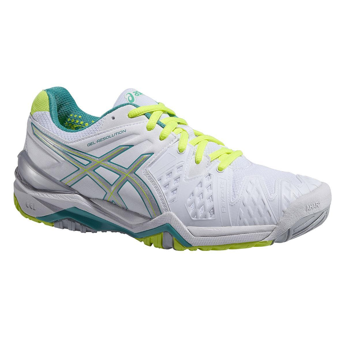 Asics Womens GEL Resolution 6 Tennis Shoes - White/Emerald Green/Silver