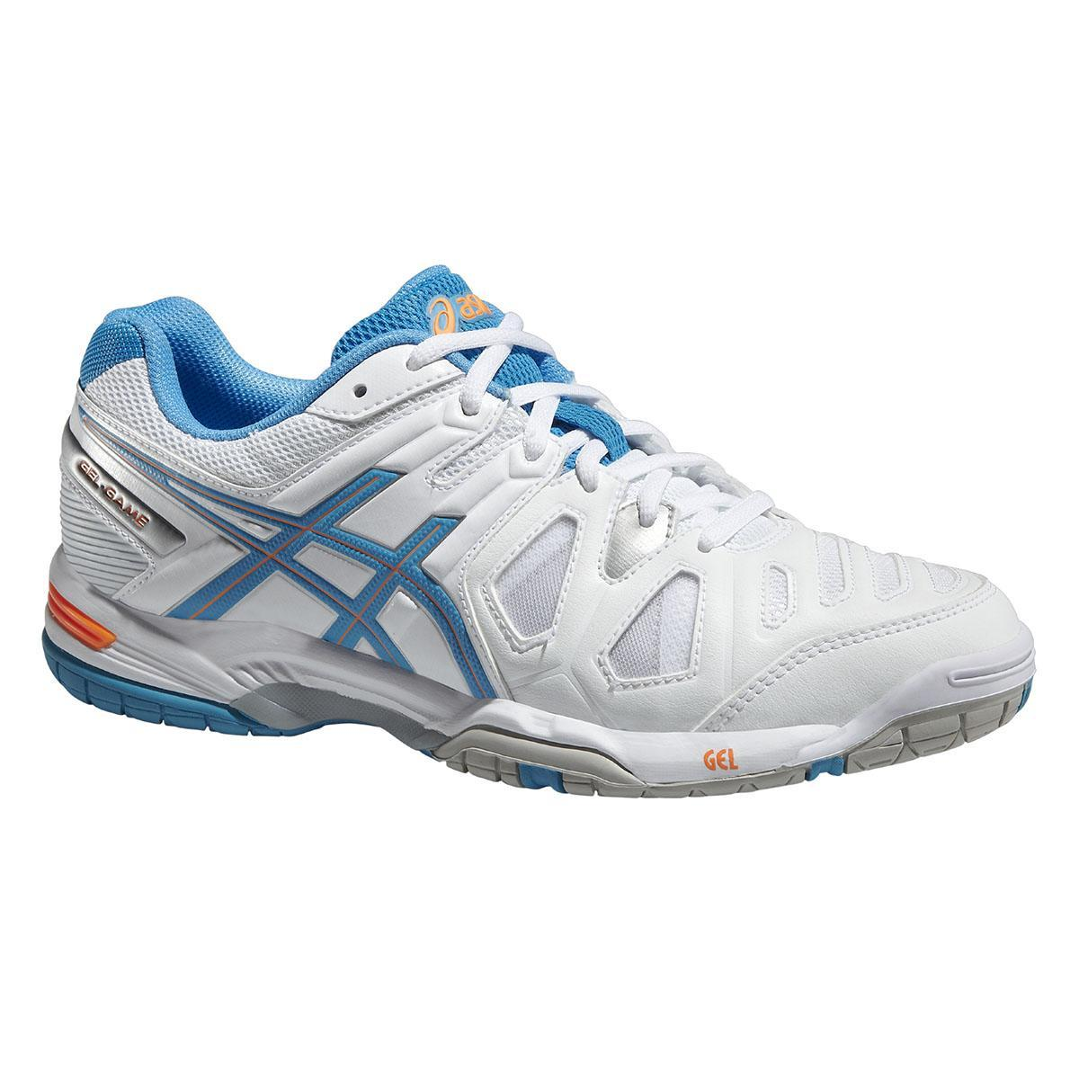 Asics Women's Gel Game 5 Tennis Shoes in WhiteSoft BlueNectarine