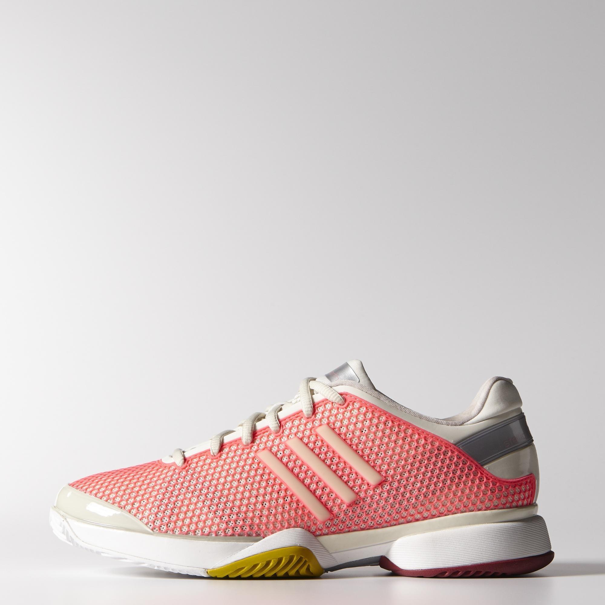 Adidas Womens Stella McCartney Barricade 8 Tennis Shoes - Pink/White