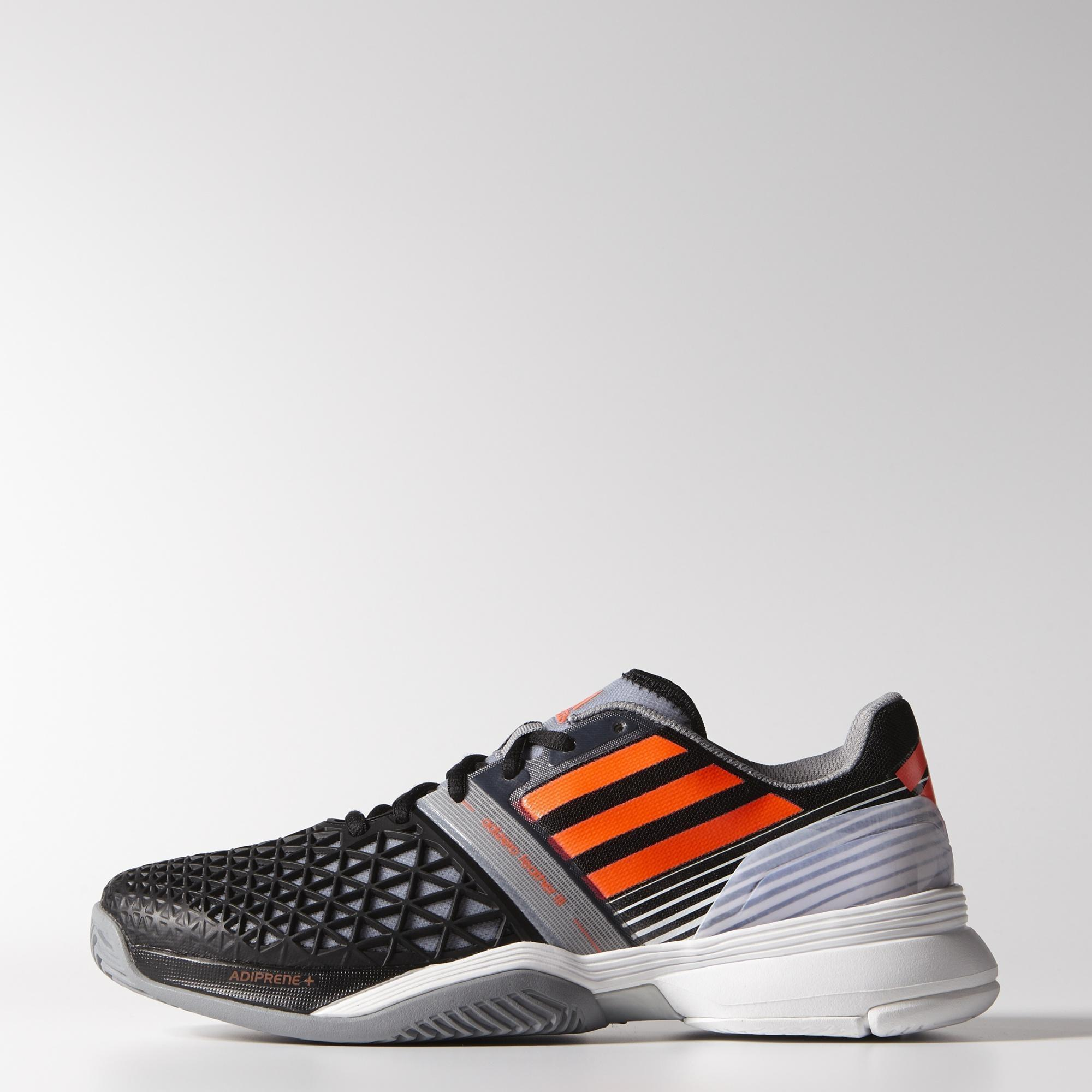 check out bcf5d 17536 Adidas Mens CC Adizero Feather III Tennis Shoes - BlackSolar Red -  Tennisnuts.com