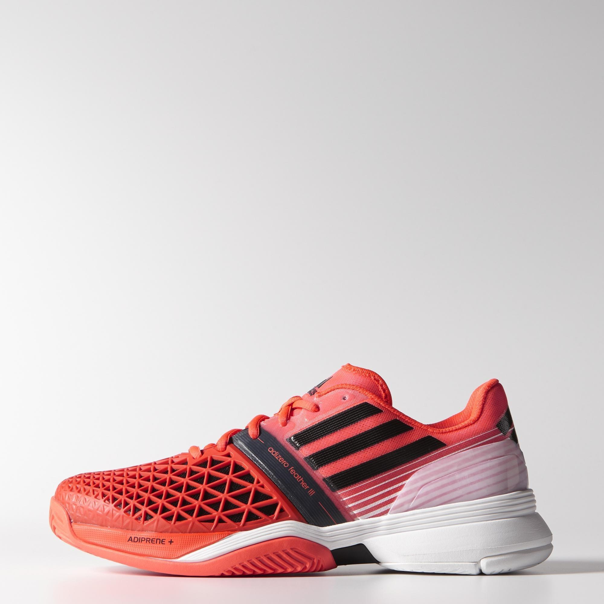 50e63fdaa6b1 Adidas Mens CC Adizero Feather III Tennis Shoes - Solar Red - Tennisnuts.com