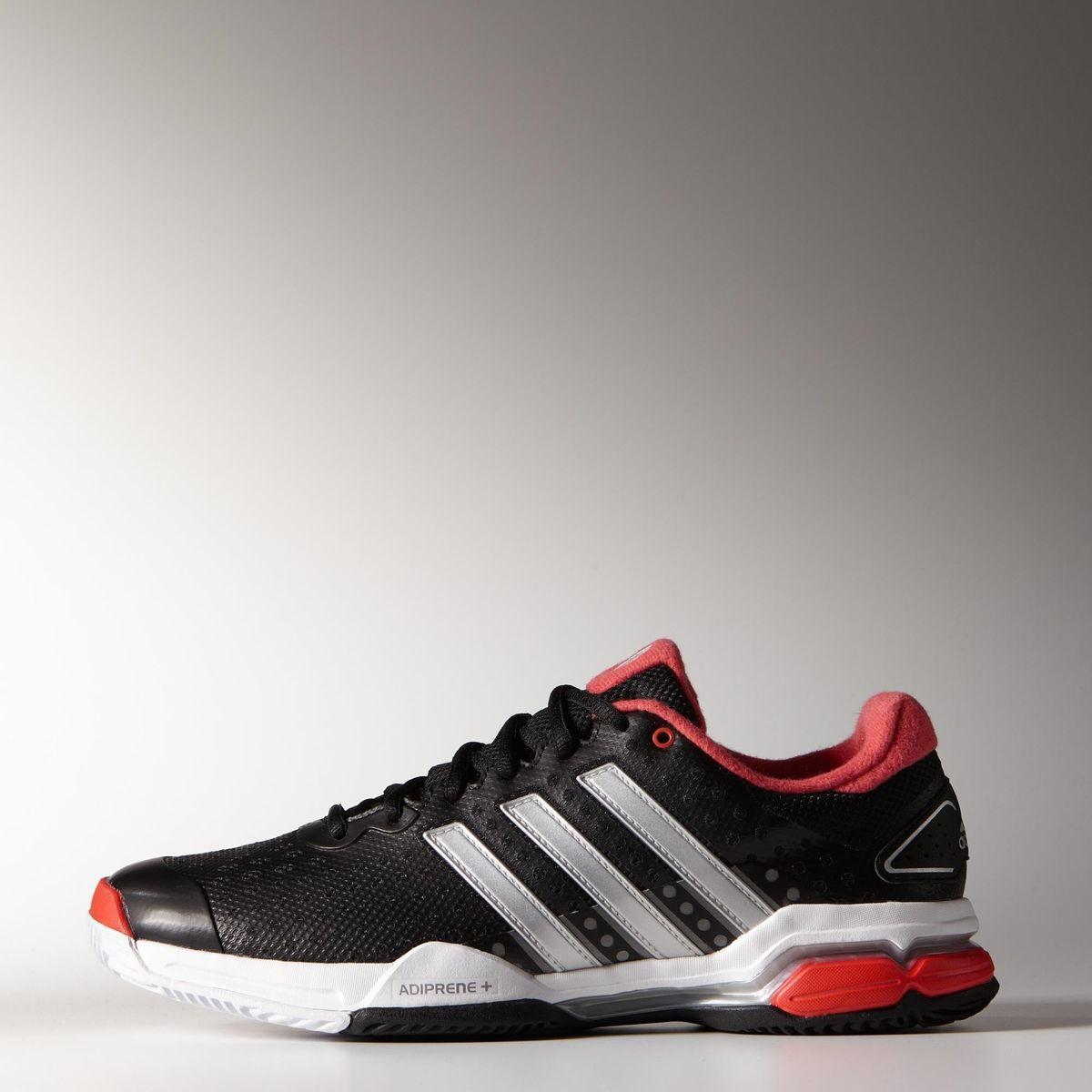 sports shoes 4a48d 0368c Adidas Mens Barricade Team 4 Tennis Shoes - Black Silver Red -  Tennisnuts.com