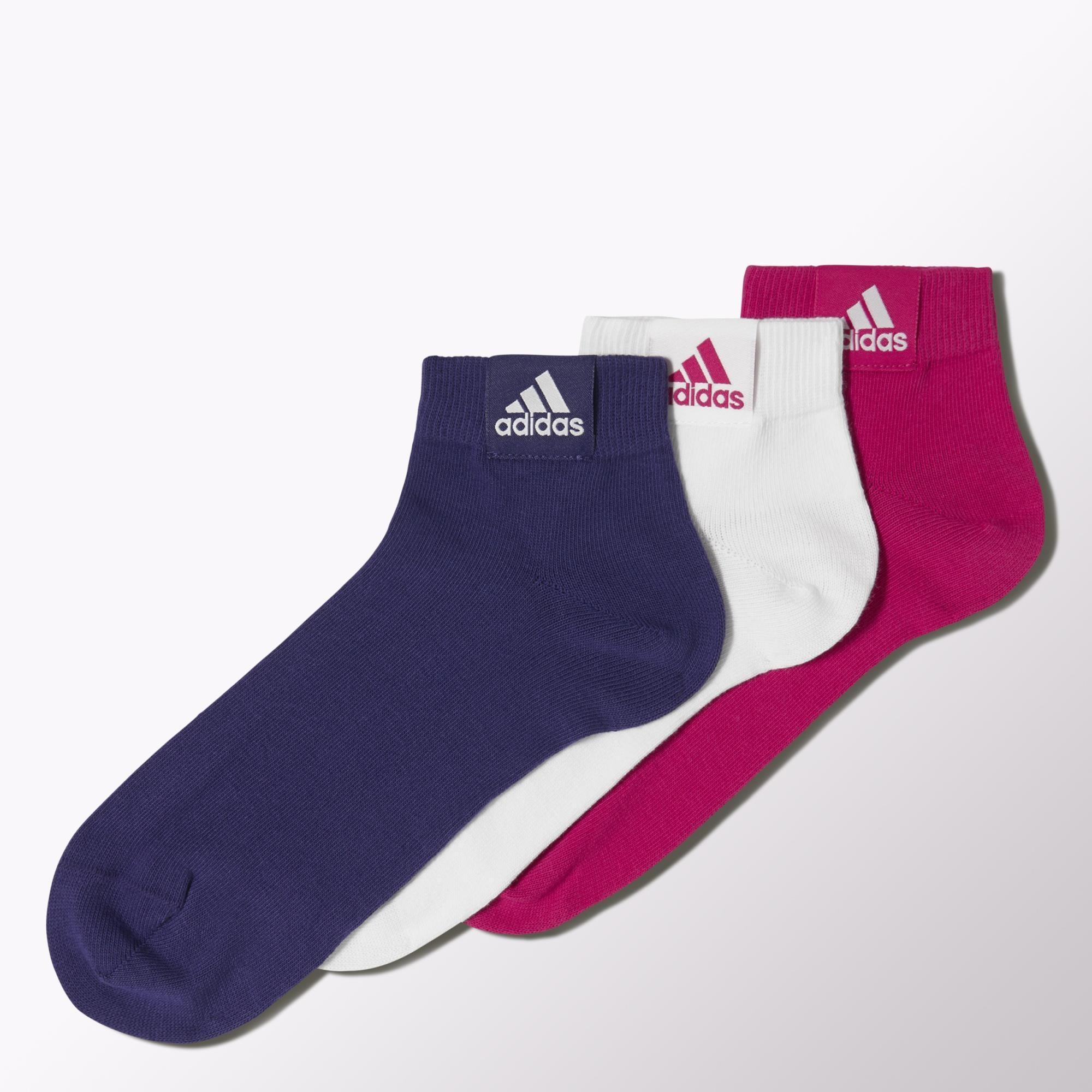 029fc2af493d Adidas Ankle Socks (3 Pairs) - Pink Buzz White Amazon Purple -  Tennisnuts.com