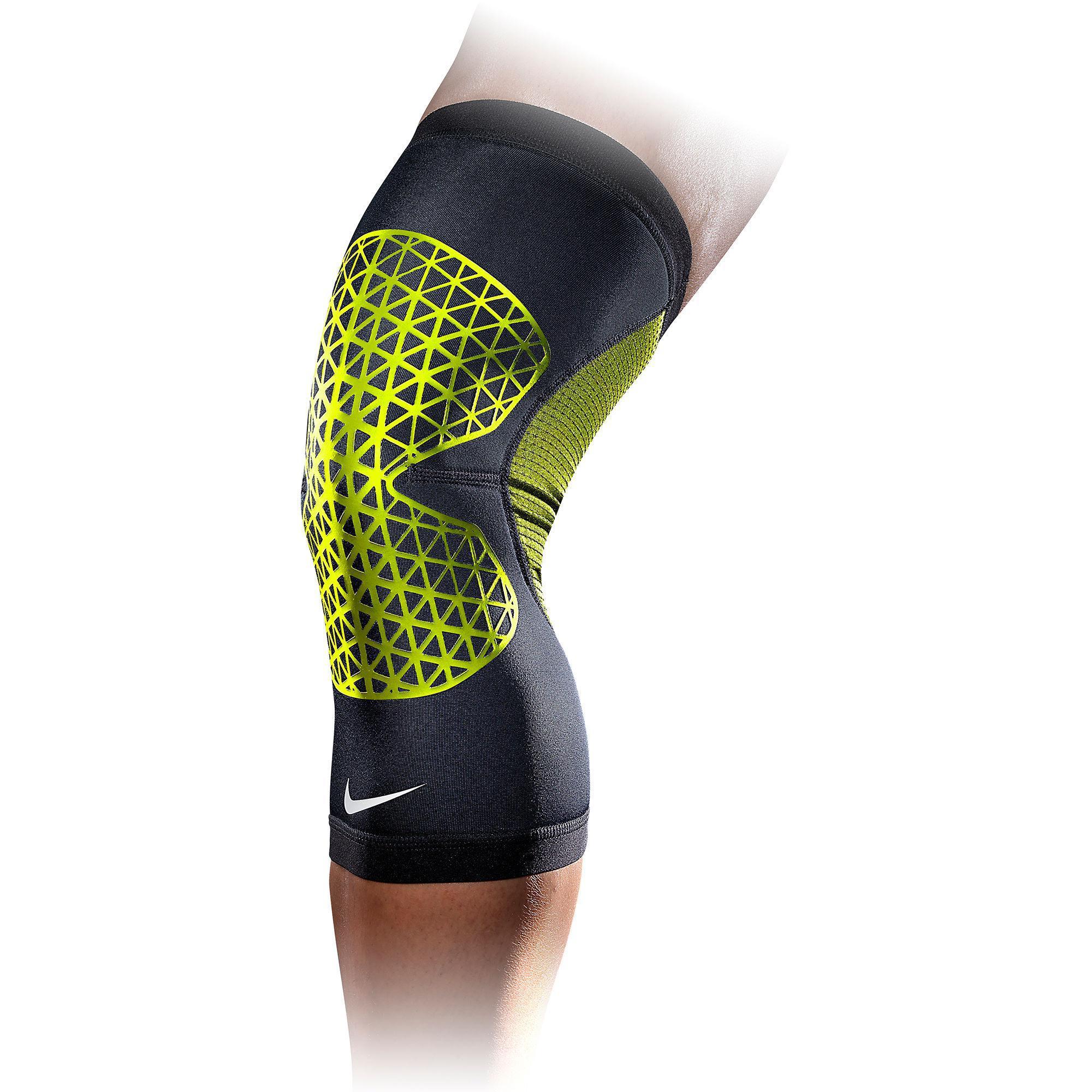 nike pro combat compression knee support black volt. Black Bedroom Furniture Sets. Home Design Ideas