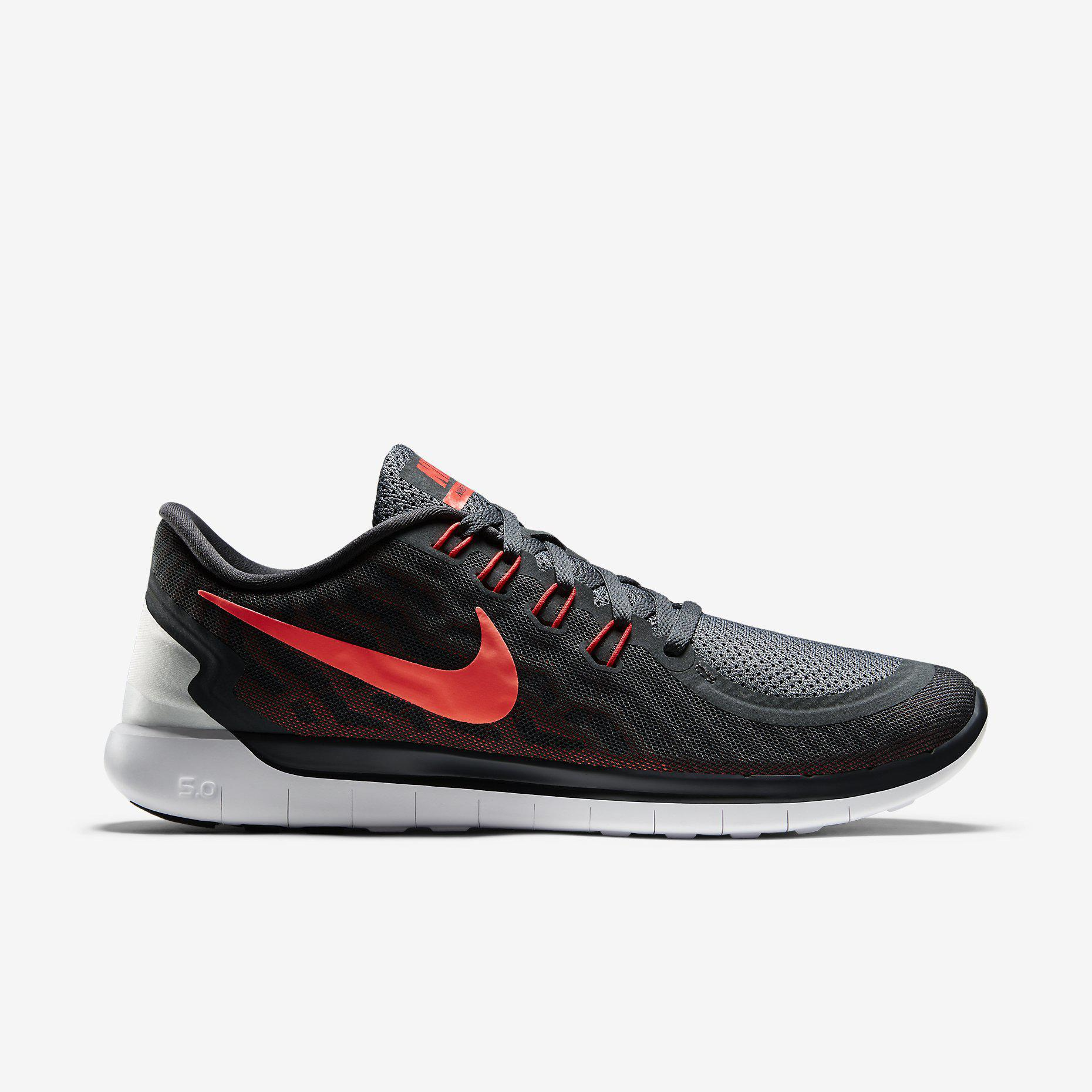 new product 73799 f271a Nike Mens Free 5.0+ Running Shoes - Anthracite/Bright Crimson