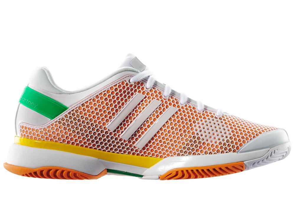Adidas Womens Stella McCartney Barricade 8 Tennis Shoes - White/Orange