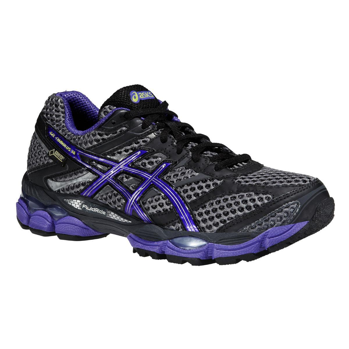 asics womens gel cumulus 16 gtx running shoes carbon purple. Black Bedroom Furniture Sets. Home Design Ideas