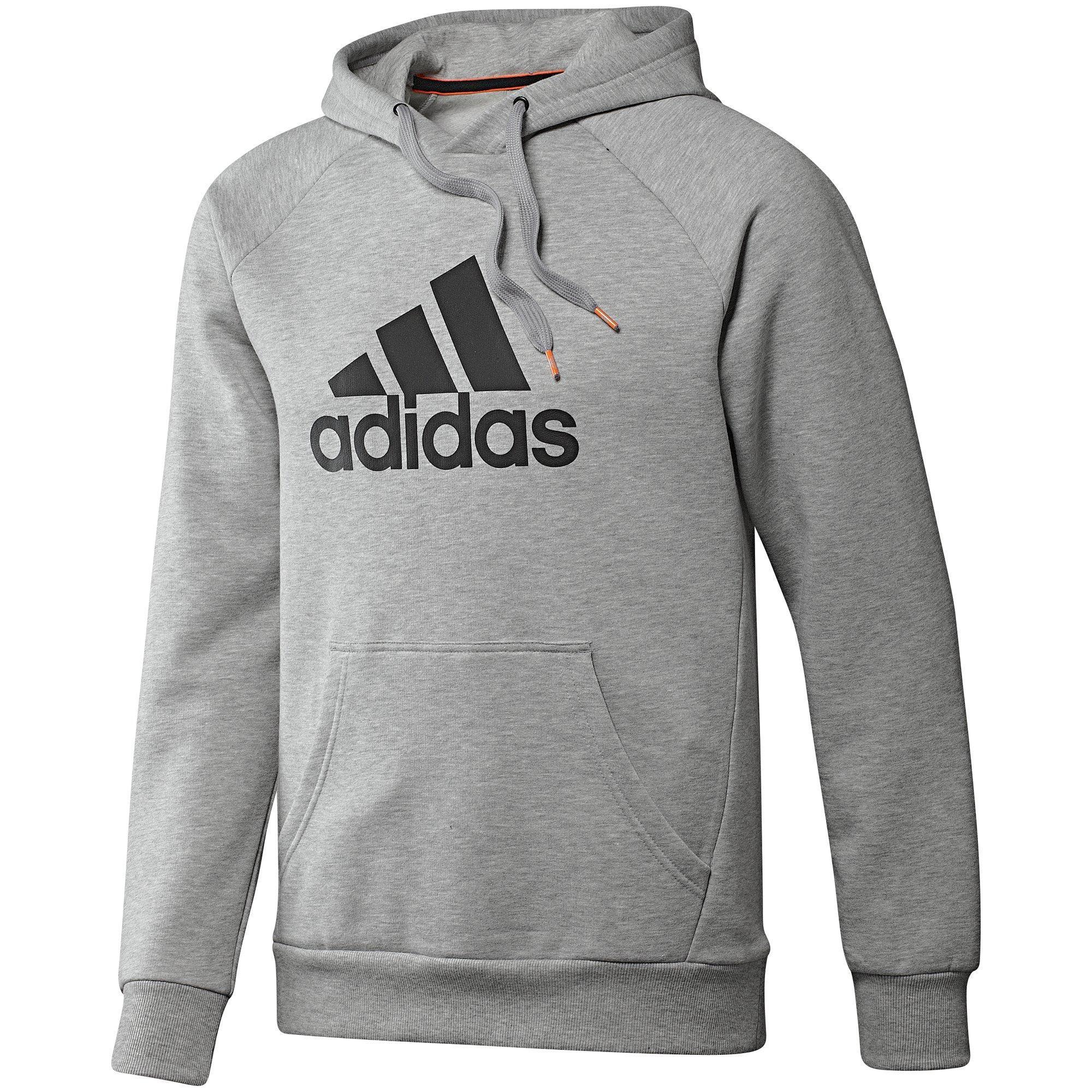 Adidas Mens Essentials Logo Hoodie - Medium Grey Heather