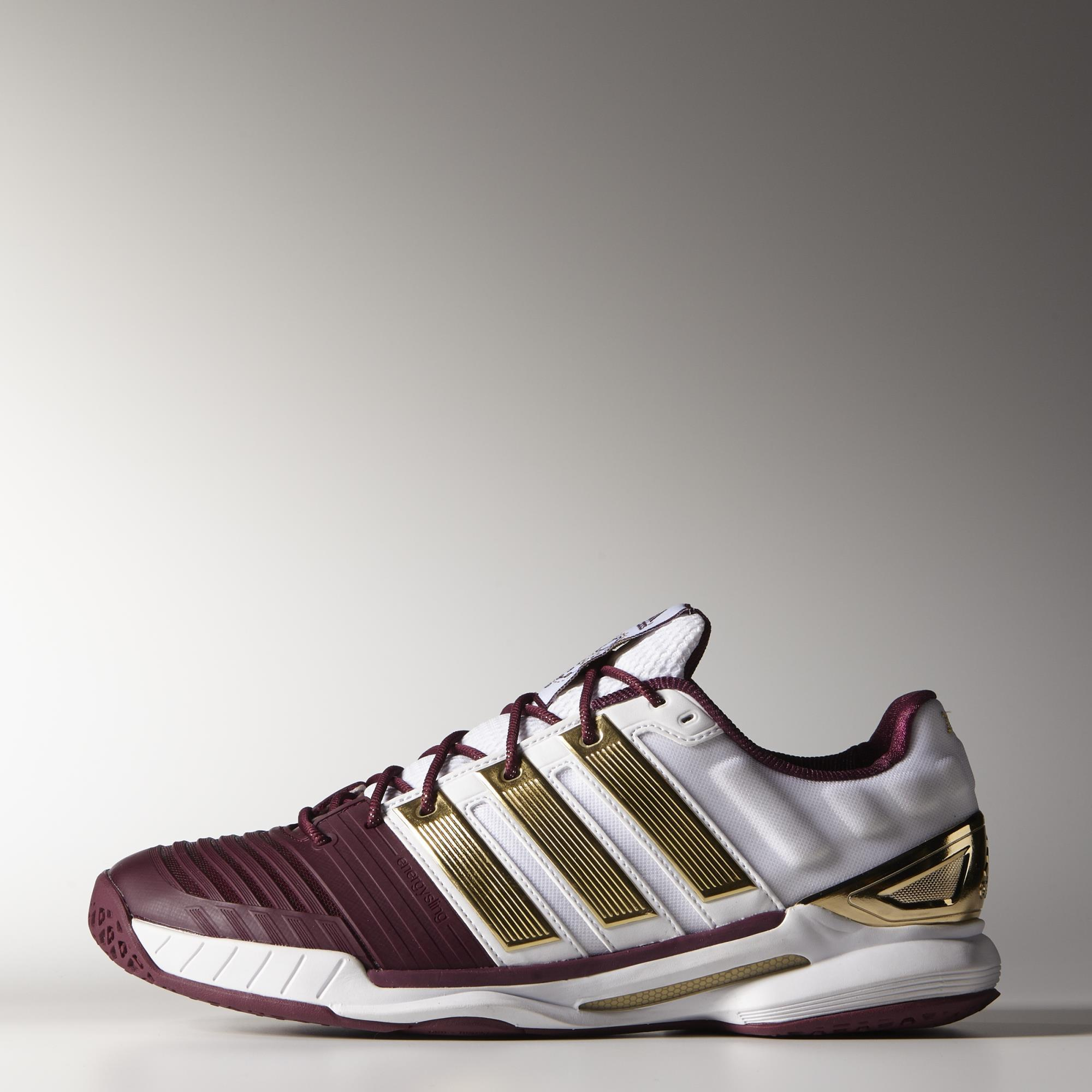 big sale 40938 41416 Adidas Mens adiPower Stabil 11 Limited Edition Indoor Shoes - WhiteGold -  Tennisnuts.com