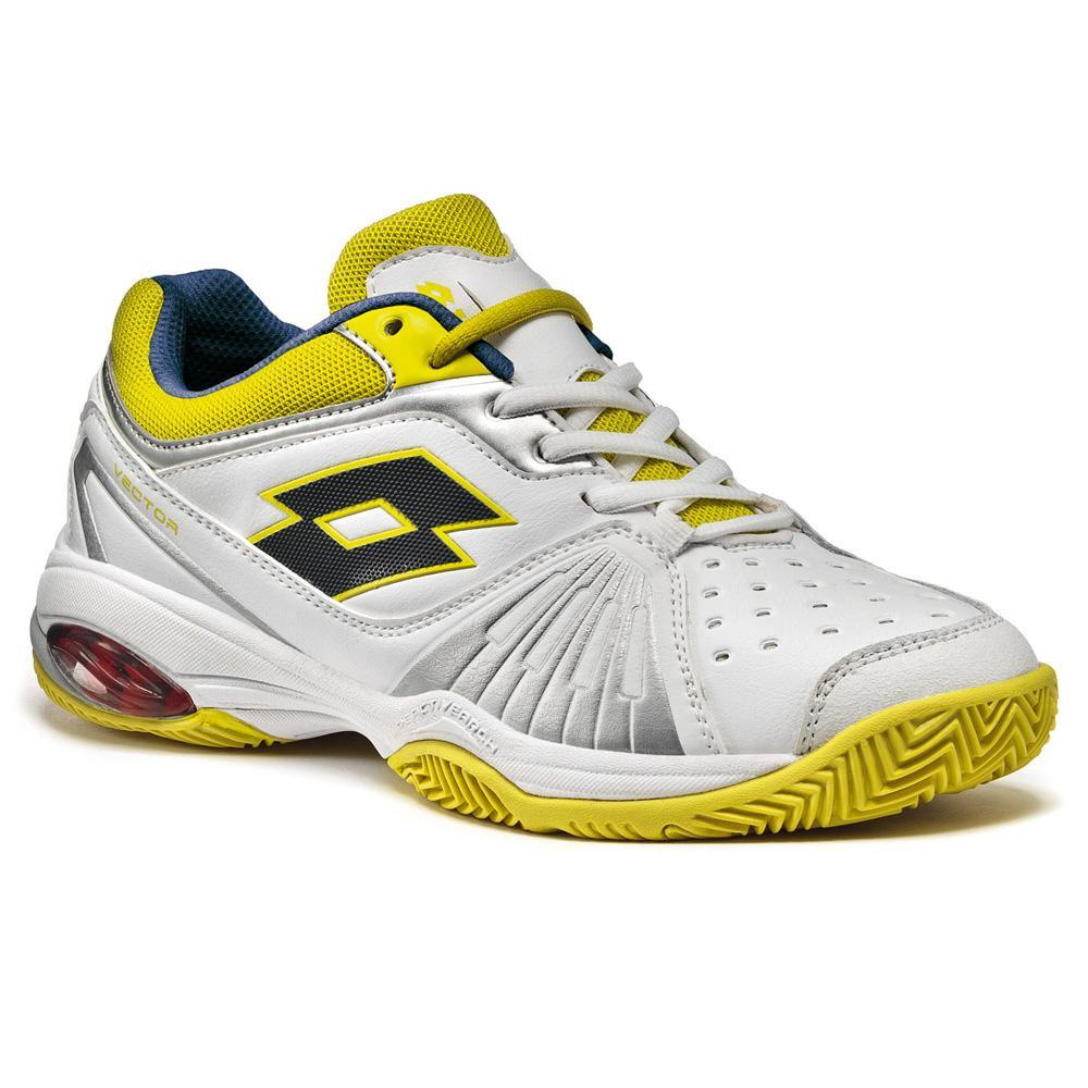 lotto womens vector vi tennis shoes white yellow silver