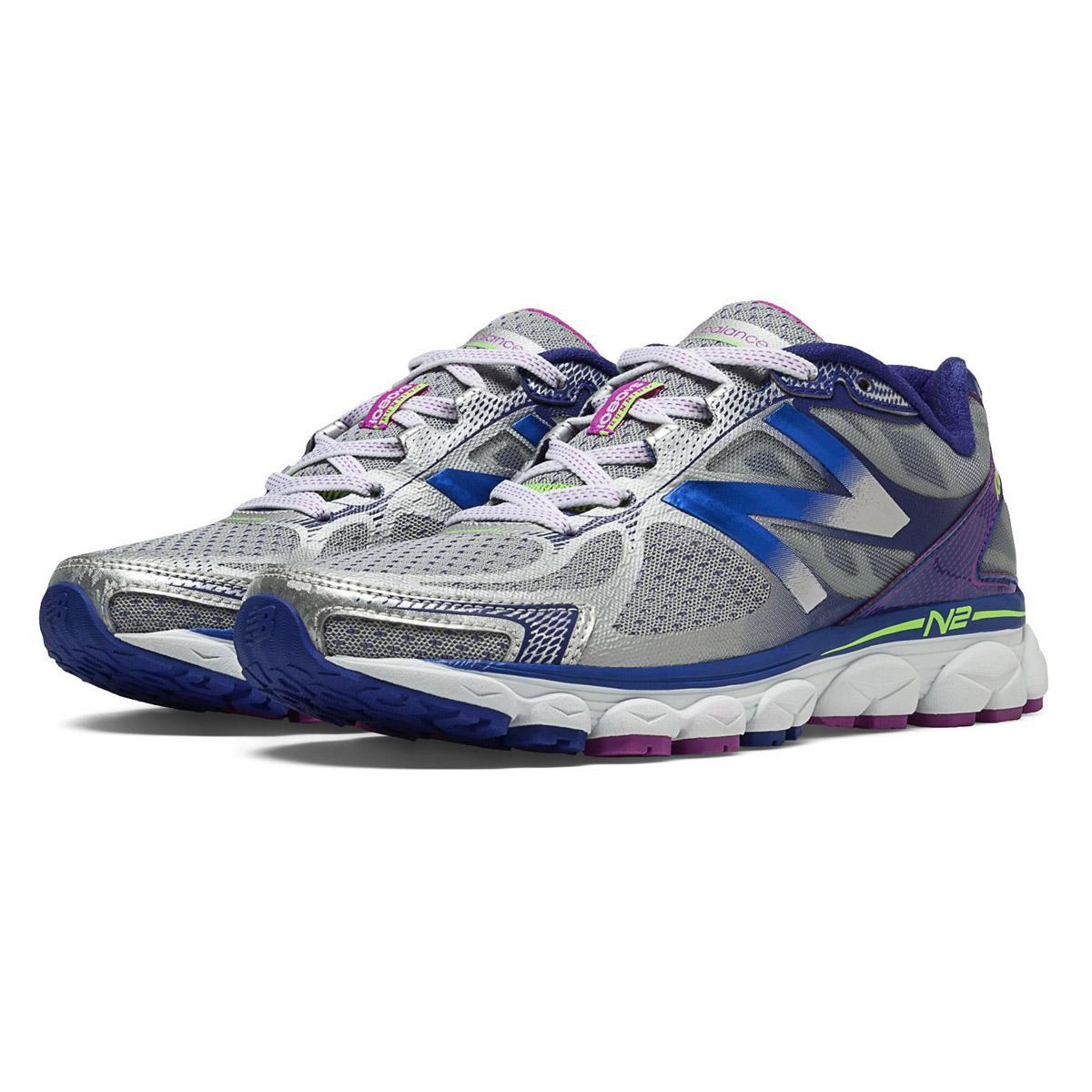 New Balance W1080v5 Womens B Running Shoes Silver Purple Blue