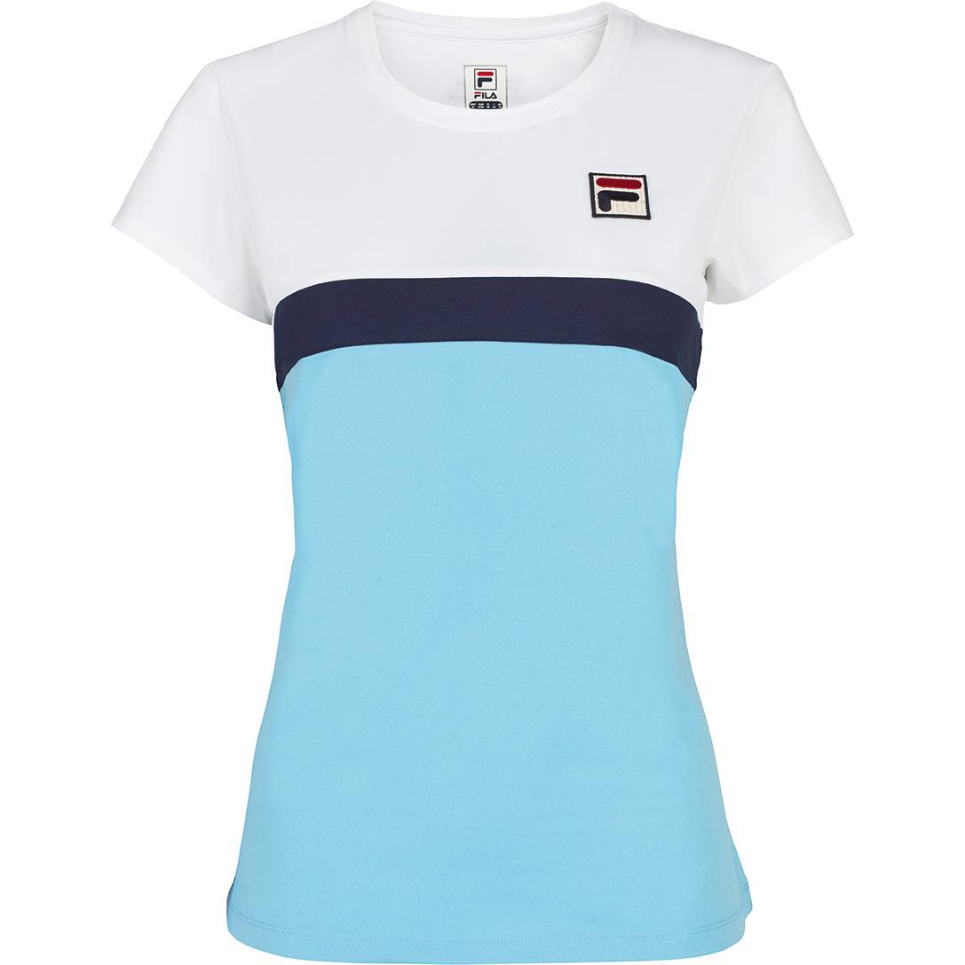 e1d1b3a1 Fila Womens Heritage Cap Sleeve Top - Light Blue/Navy - Tennisnuts.com