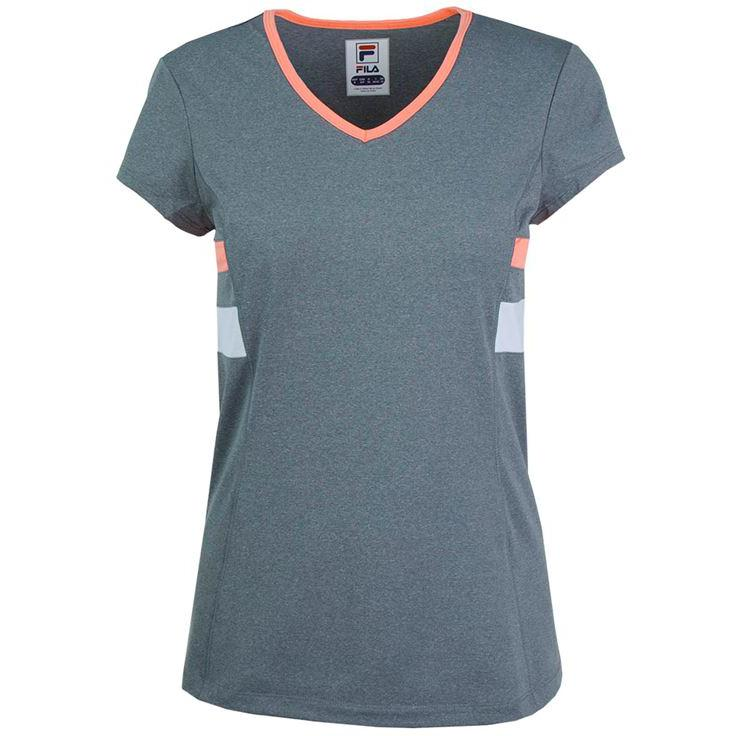 8c4fb830 Fila Womens Game Day Short Sleeve Top - Grey/Coral - Tennisnuts.com