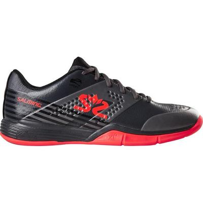 Salming Mens Viper 5 Indoor Court Shoes - Gun Metal/Lava Red