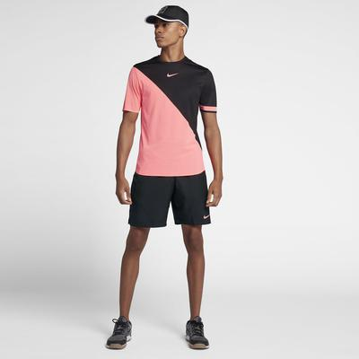 Nike Mens Zonal Cooling Challenger Tennis Top - Lava Glow/Black