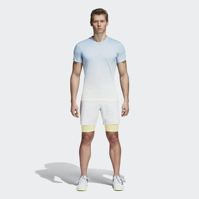 Adidas Mens Melbourne Tennis Shorts - Blue Tint/White