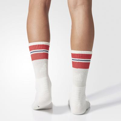 Adidas New York ID Crew Socks (1 Pair) - Chalk White/Scarlet Red