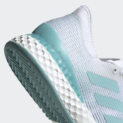 Adidas Mens Adizero Ubersonic 3 Parley Tennis Shoes - White/Blue Spirit