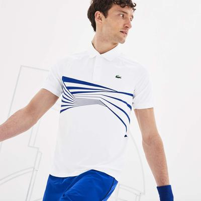 Lacoste Mens Djokovic Graphic Print Polo - White/Blue
